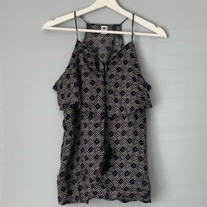 Old Navy Geometric Ruffle and Tie Front Tank